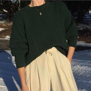 Vintage Evergreen Cable-knit Mock neck